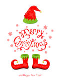 Merry Christmas with red hat and shoes elf. Red hat and shoes elf isolated on white background, holiday costume and lettering Merry Christmas and Happy New Year Royalty Free Stock Photography