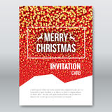Merry Christmas Red Invitation Card, design template, xmas brochure design with falling glitter particles, vector Stock Images