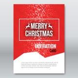 Merry Christmas Red Invitation Card, design template, xmas brochure design, vector illustration Stock Photography