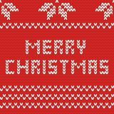 Merry Christmas red knitting vector card Stock Images