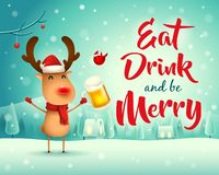 Merry Christmas! The red-nosed reindeer with beer in Christmas snow scene winter landscape. Christmas cute cartoon character vector illustration