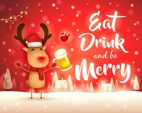 Merry Christmas! The red-nosed reindeer with beer in Christmas snow scene winter landscape. Christmas cute cartoon character stock illustration