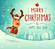 Merry Christmas! The red-nosed reindeer with gift present in Christmas snow scene winter landscape. Christmas cute cartoon character royalty free illustration