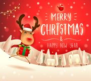 Merry Christmas! The red-nosed reindeer with gift present in Christmas snow scene winter landscape. Christmas cute cartoon character vector illustration