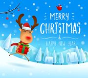 Merry Christmas! The red-nosed reindeer with gift present in Christmas snow scene winter landscape. Christmas cute cartoon character stock illustration