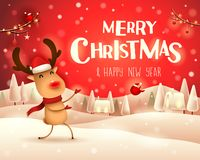 Merry Christmas! The red-nosed reindeer greets in Christmas snow scene winter landscape. Christmas cute cartoon character vector illustration