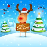 Merry Christmas! The red-nosed reindeer holds wooden board sign in Christmas snow scene winter landscape. Christmas cute cartoon character vector illustration