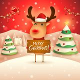 Merry Christmas! The red-nosed reindeer holds wooden board sign in Christmas snow scene winter landscape. Christmas cute cartoon character royalty free illustration