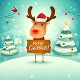 Merry Christmas! The red-nosed reindeer holds wooden board sign in Christmas snow scene winter landscape. Christmas cute cartoon character stock illustration
