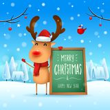 Merry Christmas! The red-nosed reindeer with message board in Christmas snow scene winter landscape. Christmas cute cartoon character stock illustration