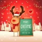 Merry Christmas! The red-nosed reindeer with message board in Christmas snow scene winter landscape. Christmas cute cartoon character vector illustration