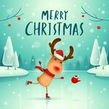 Merry Christmas! The red-nosed reindeer on skates in Christmas snow scene winter landscape. Christmas cute cartoon character stock illustration
