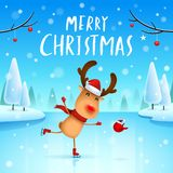 Merry Christmas! The red-nosed reindeer on skates in Christmas snow scene winter landscape. Christmas cute cartoon character vector illustration