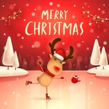 Merry Christmas! The red-nosed reindeer on skates in Christmas snow scene winter landscape. Christmas cute cartoon character royalty free illustration