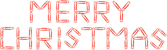 Merry Christmas red paper clips Stock Image