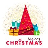 Merry christmas red pine tree. Merry christmas red xmas pine tree in low poly style, holiday decoration card design. EPS10 vector Stock Photography