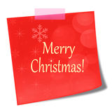 Merry christmas red post it note Stock Photography