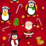 Merry Christmas Red Seamless Pattern. A seamless pattern with Santa Claus, cute penguins and Christmas cookies, on red background. Useful also as design element Royalty Free Stock Image
