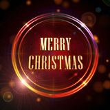 Merry Christmas in red shining golden rings Royalty Free Stock Images
