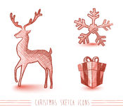 Merry Christmas red sketch style elements set EPS1 Royalty Free Stock Photos