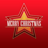 Merry Christmas in red stars Royalty Free Stock Photo