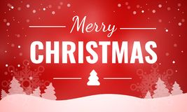 Merry christmas red theme concept banner, cartoon style stock illustration