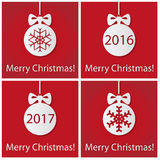 Merry Christmas on red. Red and white card on a holiday theme Christmas stock illustration