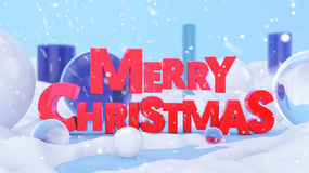 Merry Christmas Red Winter Landscape 3D Scene. Digital Art Stock Photography