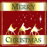 Merry Christmas Red Wisemen Stock Photo
