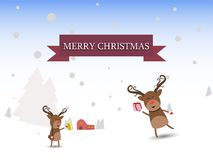 Merry christmas Reindeer Christmas characters  illustration. Merry Christmas reindeer characters greeting card  illustration Royalty Free Stock Photography