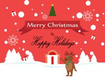 Merry christmas Reindeer Christmas characters  illustration. Merry Christmas and Reindeer snowflakes greeting card Royalty Free Stock Photography