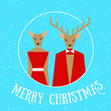 Merry christmas reindeer couple Royalty Free Stock Photo