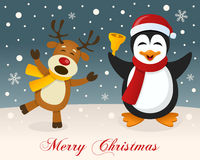 Merry Christmas - Reindeer & Cute Penguin Royalty Free Stock Photography