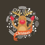 Merry christmas reindeer decoration card Royalty Free Stock Photos