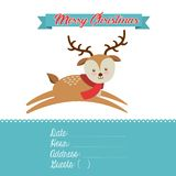 Merry christmas reindeer decoration card Stock Images