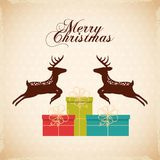 Merry christmas reindeer decoration card Royalty Free Stock Images