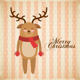 Merry christmas reindeer decoration card Stock Photography