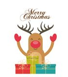 Merry christmas reindeer decoration card Royalty Free Stock Image