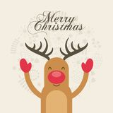Merry christmas reindeer decoration card Stock Photo