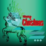 Merry Christmas Reindeer Doodles Label Stock Images