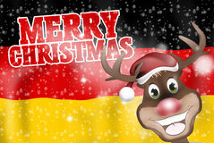 Merry Christmas Reindeer German Flag Royalty Free Stock Photos