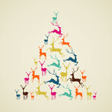 Merry Christmas reindeer pine tree shape vector. Royalty Free Stock Photos