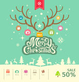 Merry Christmas reindeer sale concept on green background Stock Photo