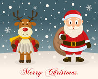 Merry Christmas - Reindeer & Santa Claus Royalty Free Stock Photography