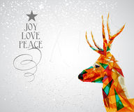 Merry Christmas reindeer shape. Trendy Christmas reindeer transparent triangle elements grunge background. EPS10  with transparency organized in layers for easy Stock Photos