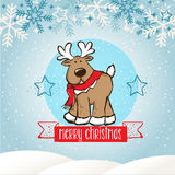 Merry christmas 03. Merry Christmas! Christmas Reindeer standping up in Christmas snow scene stock illustration