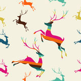 Merry Christmas reindeer stripes seamless pattern vector. Stock Photo