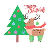 Merry Christmas Reindeer on Vector Illustration. Merry Christmas banner depicting title and icon of reindeer wearing scarf and socks standing by tree with toys Royalty Free Stock Images