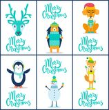 Merry Christmas Reindeer on Vector Illustration. Merry Christmas, icons of hedgehog, head of reindeer, calmly sitting dog, penguin and snowman with ice-cream and Royalty Free Stock Images