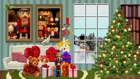 Merry Christmas rendering video in HD stock video footage
